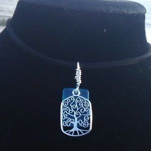 Blue Sea Green Sea Glass Tree of Life Necklace